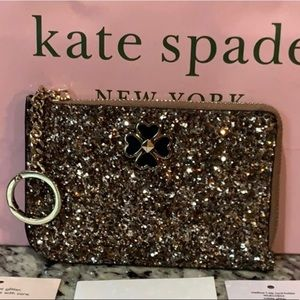 NWT Auth Kate Spade Glitter Card Case Wallet